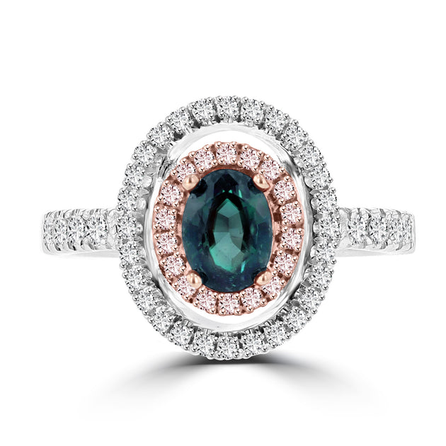 18K White Gold Brazilian Alexandrite 0.79cts  and Diamond 0.45cts Statement Ring (SI1-VS, G-H) by La Vita Vital