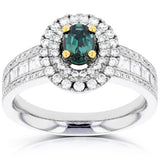 18k White Gold Fine Brazilian Alexandrite and 1 1/3 ct TDW Diamond (SI1-VS, G-H) Ring by La Vita Vital