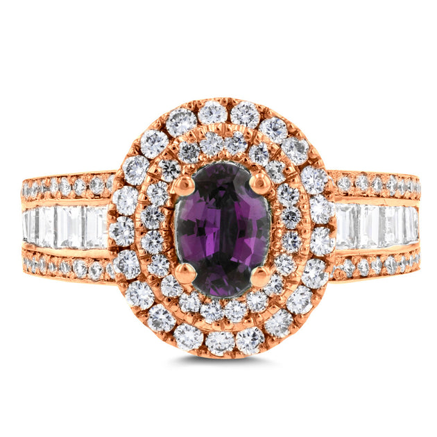 18K Rose Gold Fine Brazilian Alexandrite and 1 1/3 ct TDW Diamond (SI1-VS, G-H) Ring by La Vita Vital