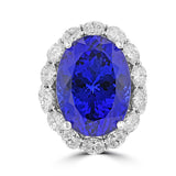 18K White God Tanzanite 25.12cts and Diamond 4.35cts TDW (VS1-VS2, G-H) Ring