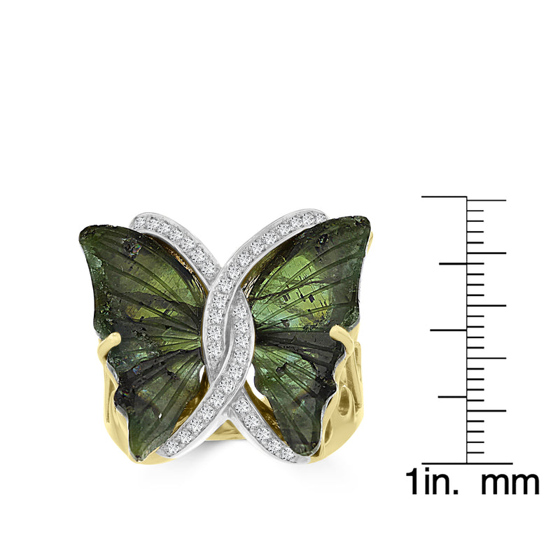 14k Yellow Gold 8 1/2ct Natural Tourmaline and 1/5ct TDW Diamond Butterfly Ring