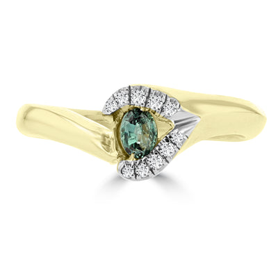18K Yellow Gold, Fine Color Changing Brazilian Alexandrite 0.23cts & Diamond 0.03cts TDW (SI1-VS, G-H) Ring by La Vita Vital