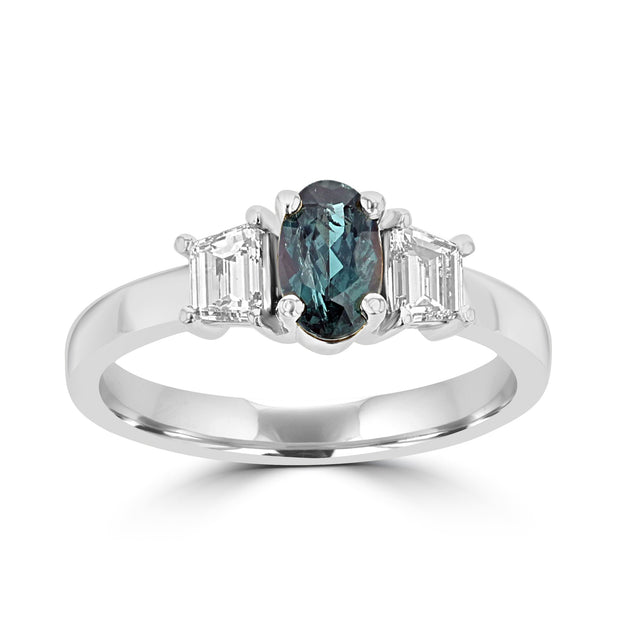 18K White Gold Alexandrite 0.70cts and Diamond 0.55cts (SI1-VS G,H) Ring by La Vita Vital