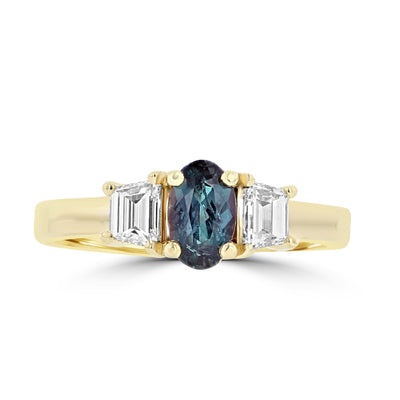 18K Yellow Gold Alexandrite 0.70cts and Diamond 0.55cts (SI1-VS G,H) Ring by La Vita Vital