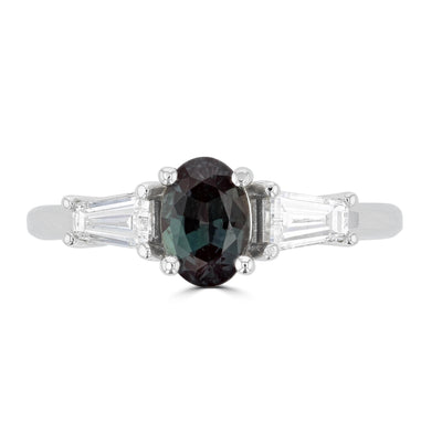 18K White gold Gubelin certified Alexandrite 1.00ct and Tapered Baguette Diamond 0.58cts (VS, G) Ring by La Vita Vital