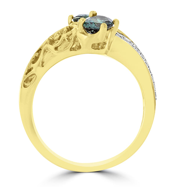 18K Yellow Gold, Fine Brazilian Alexandrite 0.52cts & Diamond 0.13cts TDW (SI1-VS, G-H) Ring by La Vita Vital