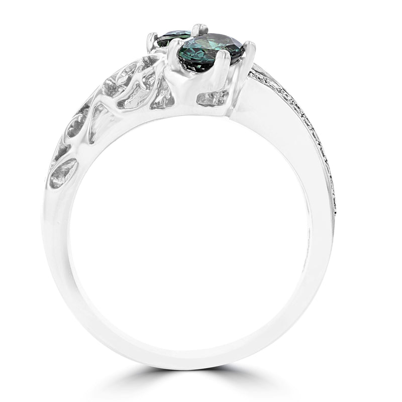 18K White Gold, Fine Brazilian Alexandrite 0.52cts & Diamond 0.13cts TDW (SI1-VS, G-H) Ring by La Vita Vital