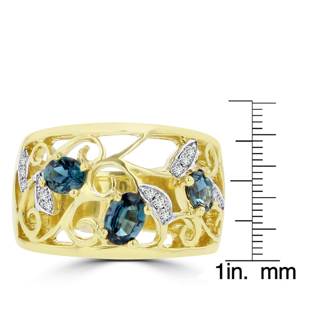 18K Yellow Gold Brazilian Alexandrite 0.80ct and Diamond 0.09cts Ring (VS-SI1, G-H) by La Vita Vital