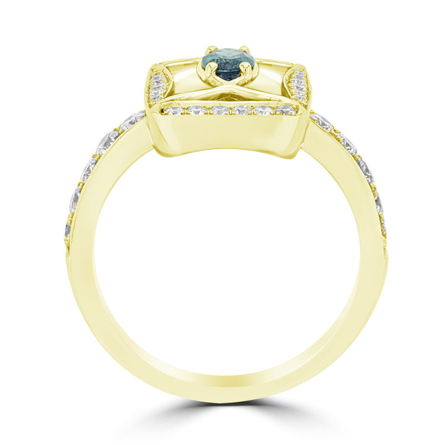 18K Yellow Gold, Fine Brazilian Alexandrite 0.26cts & Diamond 0.53cts TDW (SI1-VS, G-H) Ring by La Vita Vital
