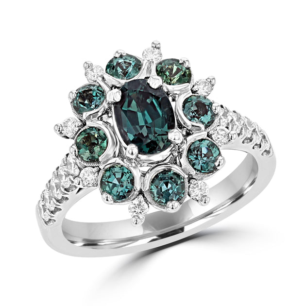 18K White Gold, Fine Brazilian Alexandrite 1.99cts & Diamond 0.48cts TDW (SI1-VS, G-H) Ring by La Vita Vital