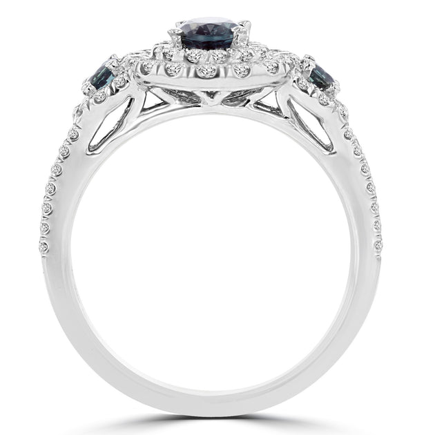 18K White Gold Fine Brazilian Alexandrite 0.88cts and Diamonds 0.60cts TDW (VS-SI1, G-H) Ring by La Vita Vital