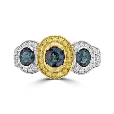 18K Two Tone Gold, Fine Color Changing Brazilian Alexandrite 1.51cts & Diamond 0.54cts TDW (SI1-VS, G-H) Ring by La Vita Vital