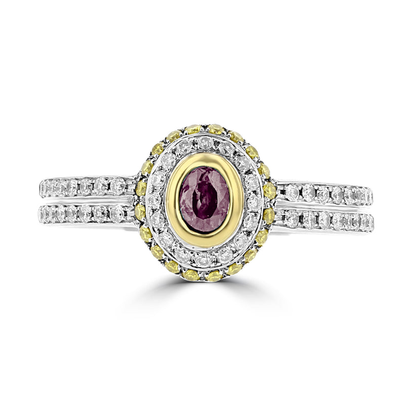 18K White & Yellow Gold, Brazilian Alexandrite 0.28cts & Diamond 0.35cts TDW (SI1-VS, G-H) Ring by La Vita Vital