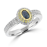 18K White Gold, Fine Color Changing Brazilian Alexandrite 0.54ct & Diamond 0.39ct TDW (SI1-VS, G-H) Ring by la Vita Vital