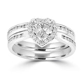 14K White Gold Diamond 1.15cts TDW Heart (SI1-VS, G-H) Bridal Set