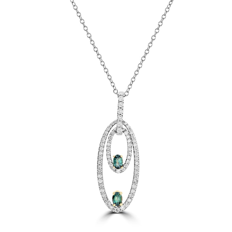 14K White & Yellow gold Brazilian Alexandrite 0.52cts and Diamond 0.67cts (SI1-VS, G-H) Pendant by La Vita Vital