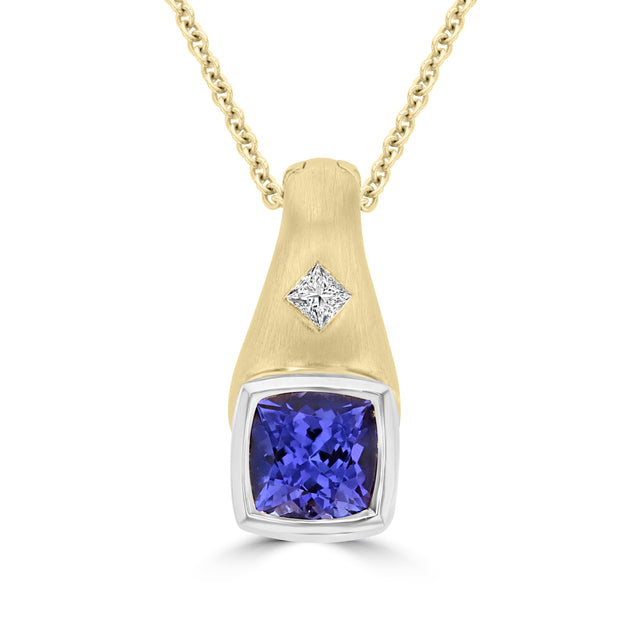 18K White or Yellow Gold Tanzanite 1.68ct & Diamond 0.09ct TDW Necklace (SI1-VS, G-H)