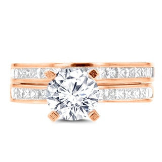 14k Rose Gold Diamond 2.05ct. TDW Bridal Set
