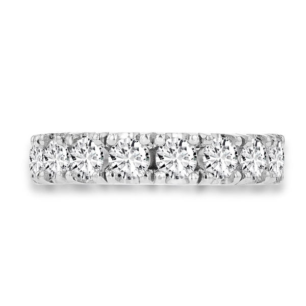 14K White Gold Wedding Band with Round Brilliant Cut Diamonds 2.05 ct TDW