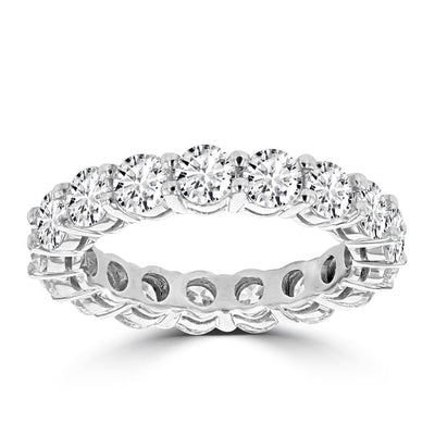 14K White Gold 4ct TDW Round Diamond Wedding Band