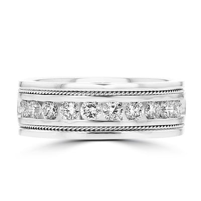 14k White Gold Men's Diamond Ring 1 1/10 cts TDW