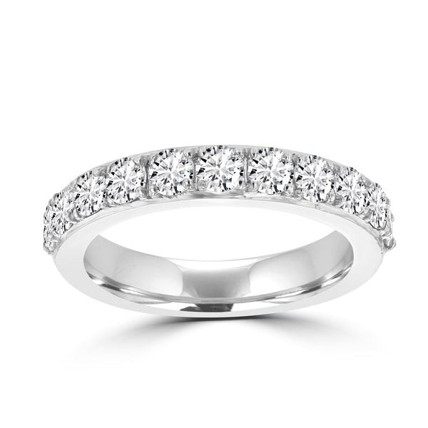 14K White Gold 3/4ct TDW Round Diamond Wedding Band