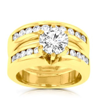 14k Yellow Gold 1.85ct. TDW Diamond Bridal Set