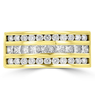 14K Yellow Gold Men's Diamond Ring 1.55ct TDW