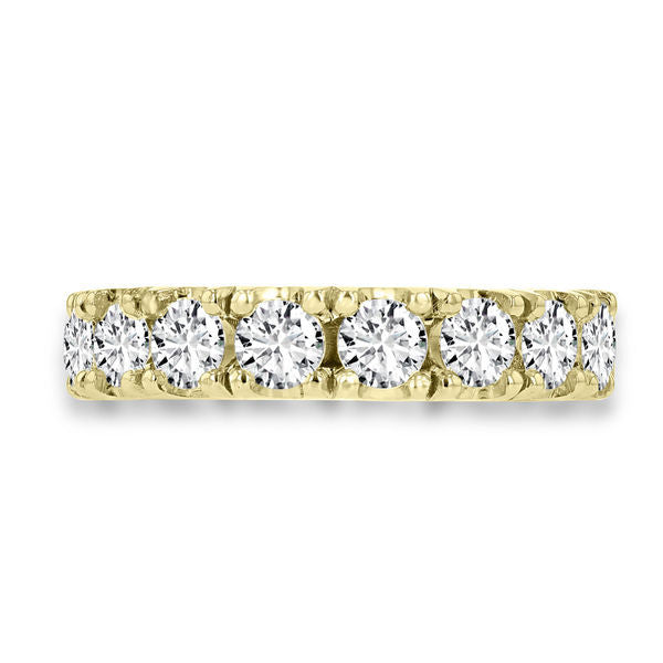 14K Yellow Gold Wedding Band with Round Brilliant Cut Diamonds 2.05 ct TDW