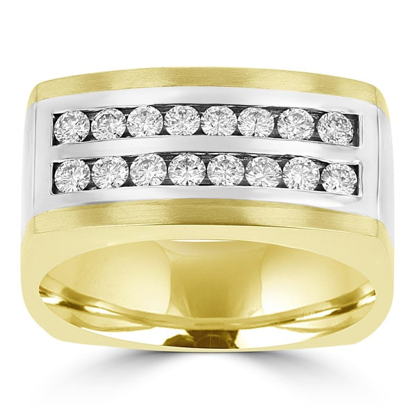 14k White & yellow Gold Men's 3/4ct TDW Diamond Ring