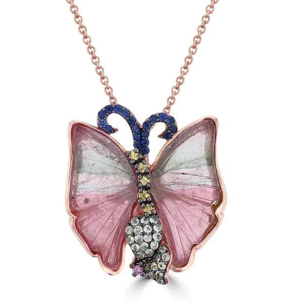 14k Rose Gold Natural Tourmaline and Multi-color Sapphire Butterfly Necklace