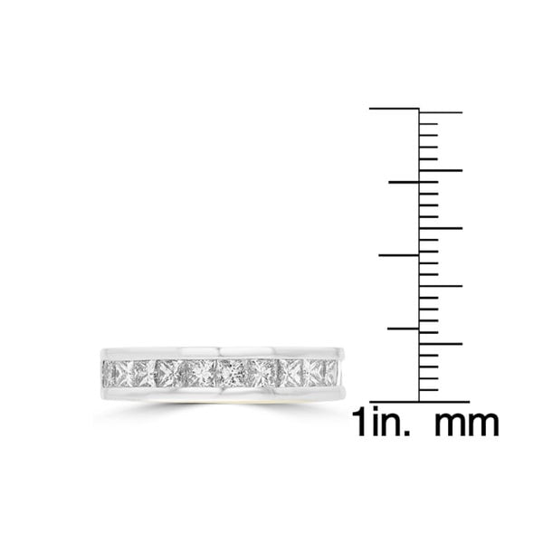 14K White Gold Princess Cut Diamond 1.85ct TDW Wedding Band