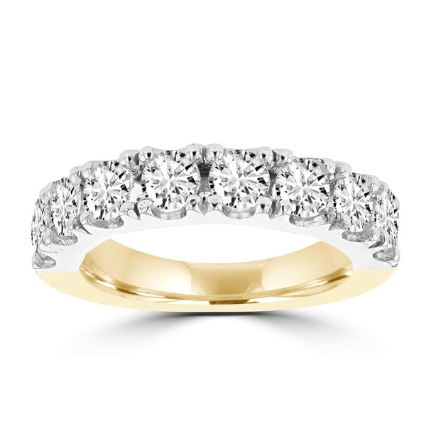 14K White & Yellow Gold Wedding Band with Round Brilliant Cut Diamonds 2.05 ct TDW