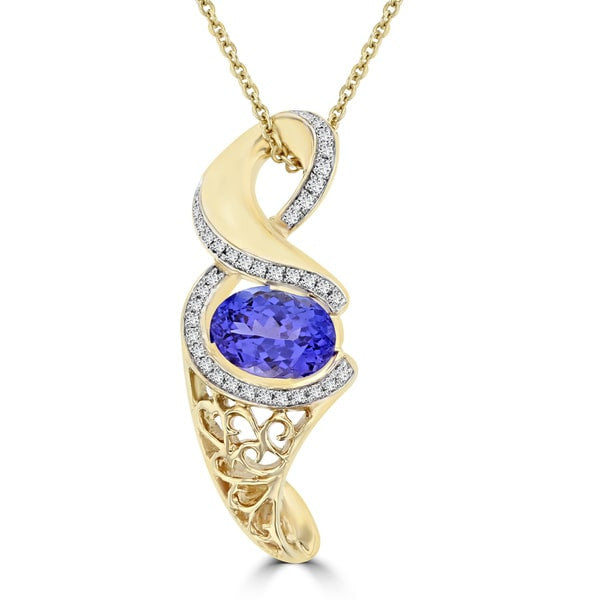 14K Yellow Gold Tanzanite 2.08cts and Diamond 0.17cts TDW (SI1-VS, G-H) Pendant