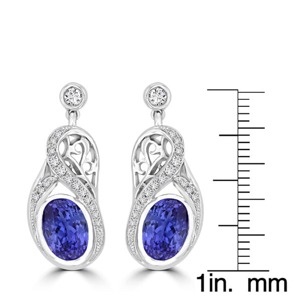 18K White Gold Tanzanite 3.20cts and Diamond 0.27cts TDW (SI1-VS, G-H) Dangling Earrings