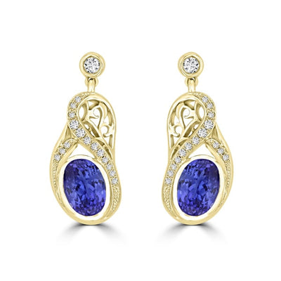 18K Yellow Gold Tanzanite 3.20cts and Diamond 0.27cts TDW (SI1-VS, G-H) Dangling Earrings