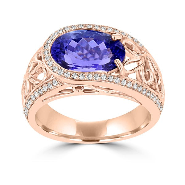 18K Rose Gold Tanzanite 3.62cts and Diamond 0.32ct TDW (SI1-VS, G-H) Ring