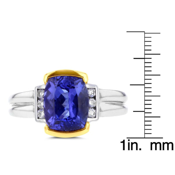 18k Two-Tone Gold Tanzanite and 1/8ct TDW Diamond (SI1-VS, G-H) Ring