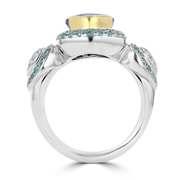 18K White/Yellow Gold Pear Tanzanite 5.12cts, Paraiba Tourmaline 0.69ct and Diamond 0.14ct TDW (SI1-VS, G-H) Ring