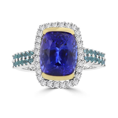 18K White/Yellow Gold Cushion Tanzanite 4.73cts, Paraiba Tourmaline 0.35ct and Diamond 0.35ct TDW (SI1-VS, G-H) Ring