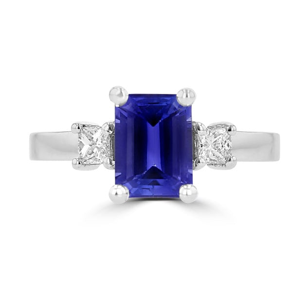 18K White Gold Emerald cut Tanzanite 1.69cts and Diamond 0.25ct TDW (SI1-VS, G-H) Ring