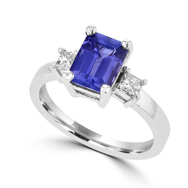 emerald diamond wixon jewelry jewelers cut ring halo with tanzanite