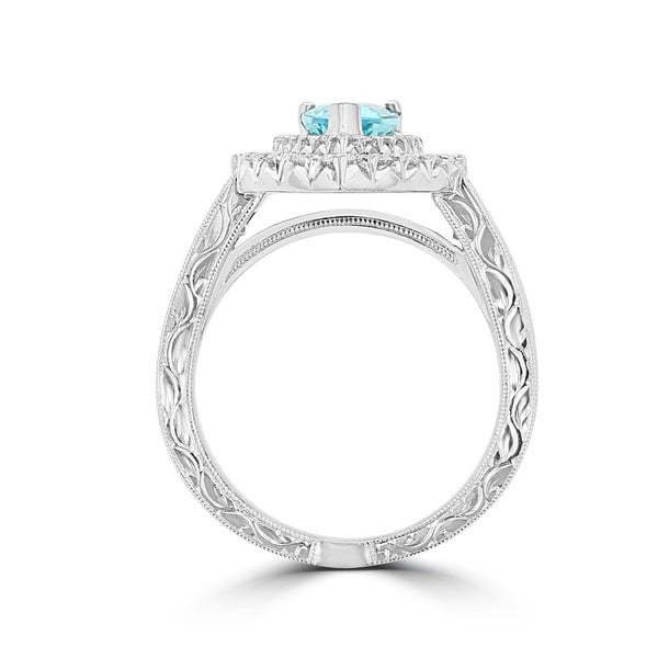 18K White Gold GIA certified Paraiba Tourmaline 1.45cts and Diamond 2.15cts TDW Ring