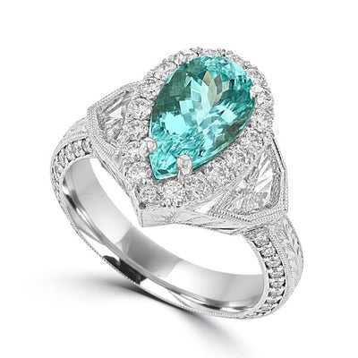 18K White Gold , GIA certified Paraiba Tourmaline 2.74cts & Diamond Ring