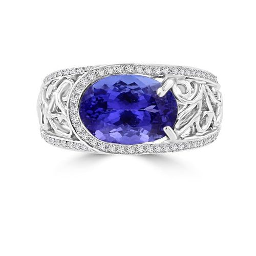 18K White Gold Tanzanite 3.62cts and Diamond 0.32ct TDW (SI1-VS, G-H) Ring