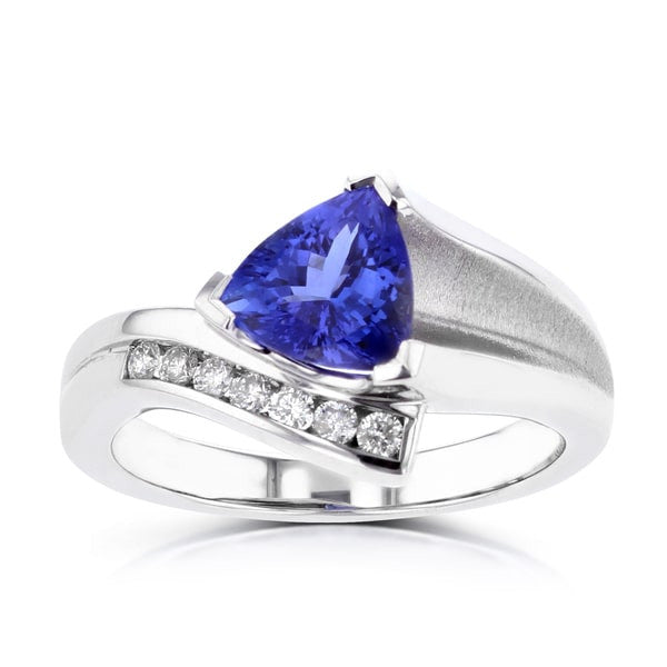 18K White Gold Trillion Tanzanite 2.17cts and Diamond 0.24ct TDW (SI1-VS, G-H) Ring
