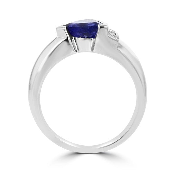 18k White Gold Trillion-cut Tanzanite and 1/10ct TDW Diamond Ring