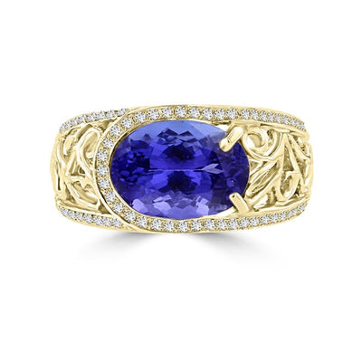 18K Yellow Gold Tanzanite 3.62cts and Diamond 0.32ct TDW (SI1-VS, G-H) Ring