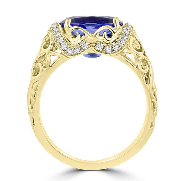 18K Yellow Gold Tanzanite 3.40cts and Diamond 0.22ct TDW (SI1-VS, G-H) Ring