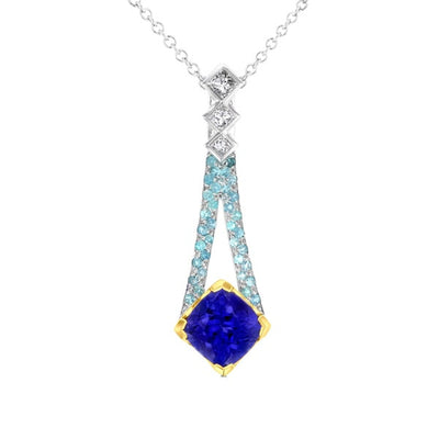 18k Two-tone Gold 2 7/8ct TGW Cushion-cut Tanzanite and 1/3ct TDW Diamond Pendant